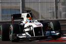 Esteban Gutierrez attacks the kerbs in the Sauber