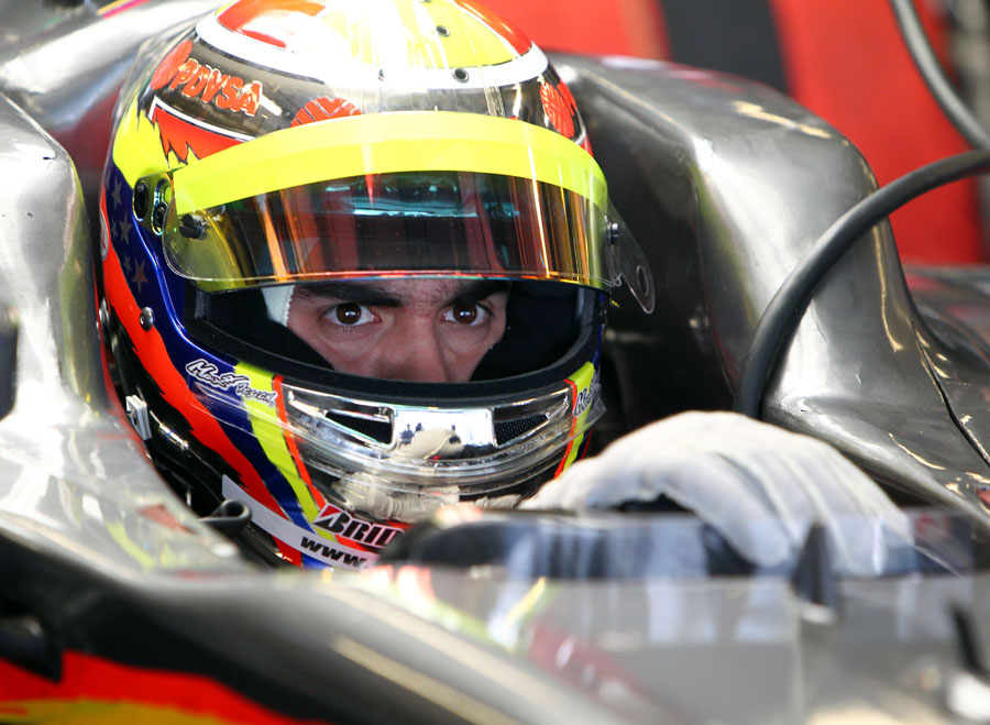 GP2 champion Pastor Maldonado waits to head out in the HRT