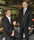 Lewis Hamilton is congratulated by Ron Dennis on signing for McLaren