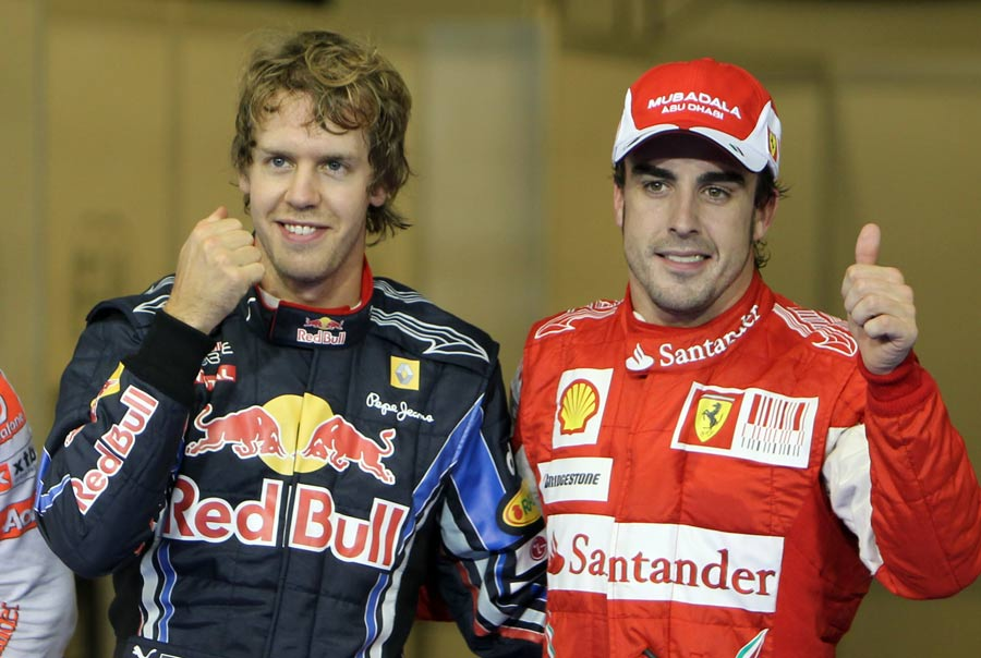 Sebastian Vettel and Fernando Alonso after qualifying
