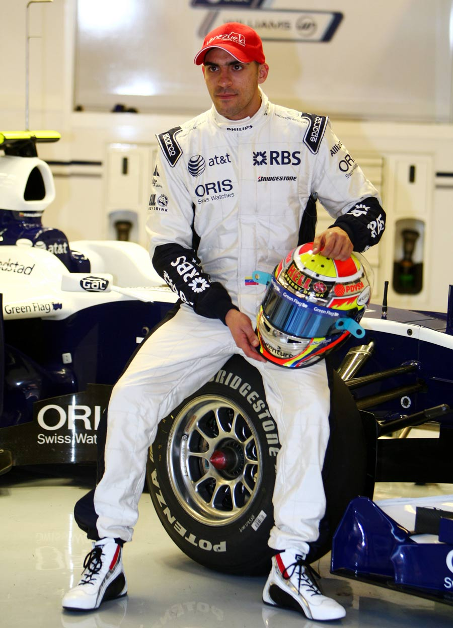 Pastor Maldonado in the Williams pits