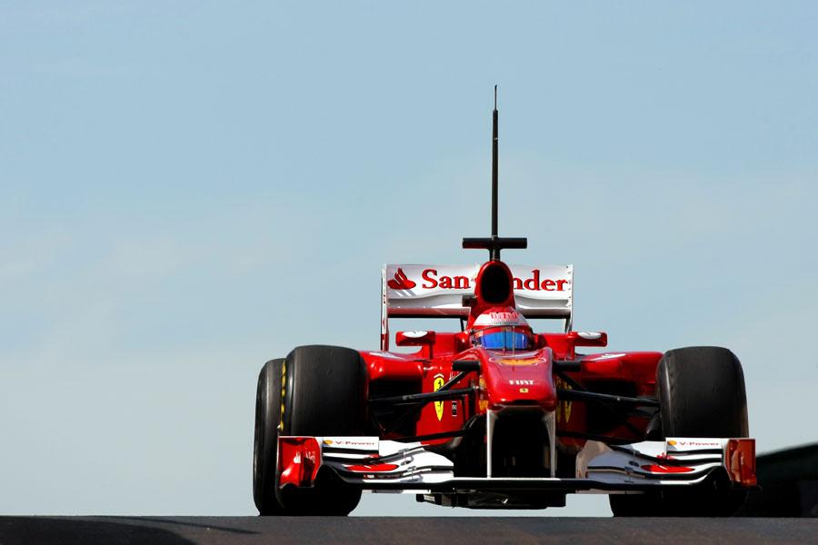 Felipe Massa leaves the pits in the Ferrari
