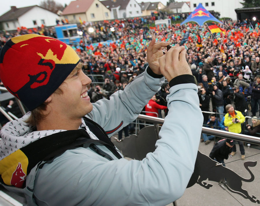 Sebastian Vettel gets a hero's welcome in his home town