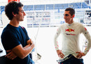 Daniel Ricciardo and Sebastien Buemi in the Toro Rosso garage