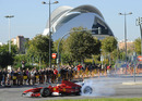 Luca Badoer entertains Ferrari fans in Valencia