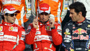 Felipe Massa, Fernando Alonso and Mark Webber pose for an end-of-season photograph