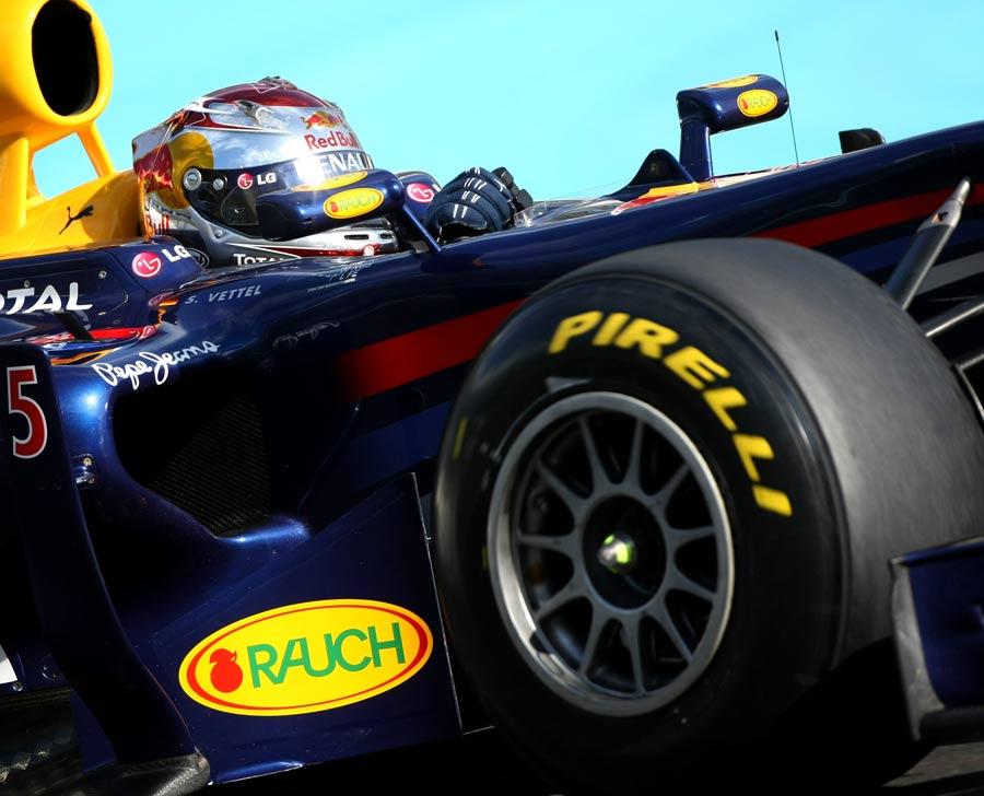 Sebastian Vettel in action during day 1 of the Pirelli test