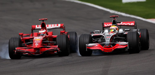 Kimi Raikkonen and Lewis Hamilton battled for the lead at Spa