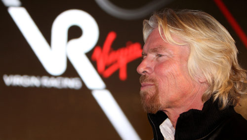 Sir Richard Branson at Virgin Racing's launch