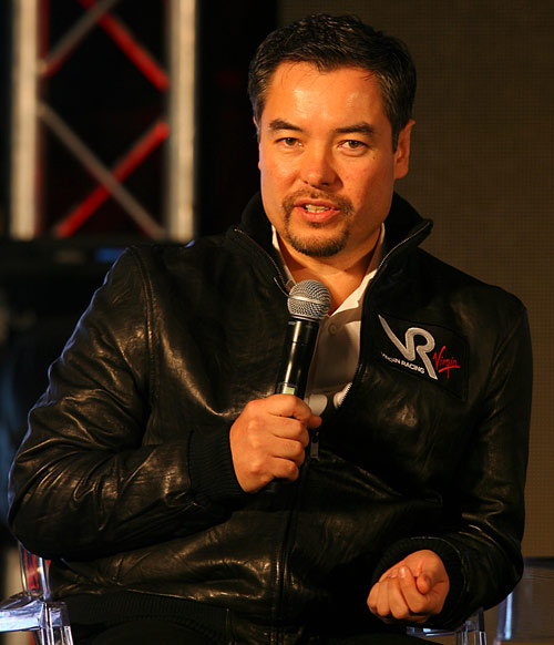 Virgin team principal Alex Tai answers questions from the press