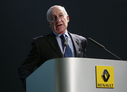 Renault F1 president Bernard Rey gives a press conference