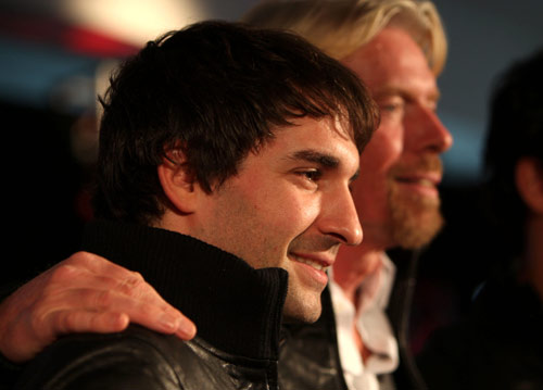Timo Glock with team owner Sir Richard Branson