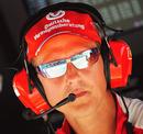 Michael Schumacher on the Ferrari pit wall