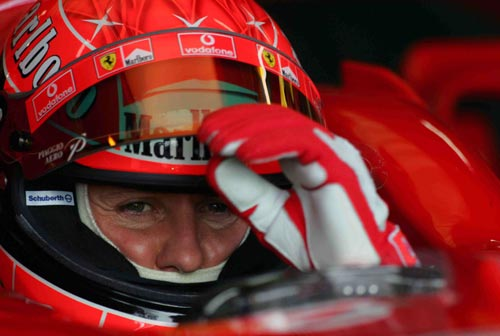Michael Schumacher prepared for action