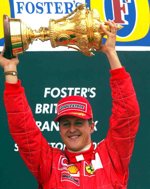 Michael Schumacher celebrates his victory