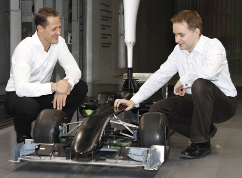 Michael Schumacher in Mercedes' wind tunnel