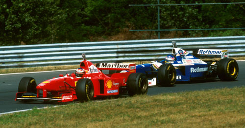 Michael Schumacher and Jacques Villeneuve fought hard for the 1997 title