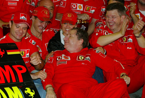 Michael Schumacher celebrated his sixth title