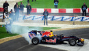 Sebastian Vettel performs stunts in his RB6