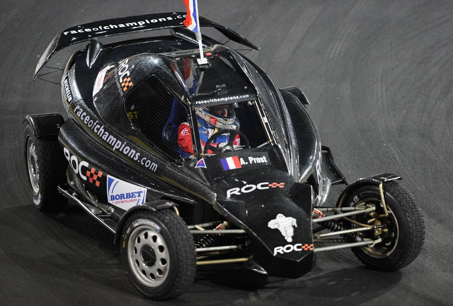 Alain Prost in action during the Race of Champions