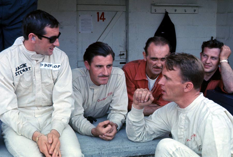 Jackie Stewart pictured with Graham Hill and Dan Gurney during the Belgian Grand Prix weekend