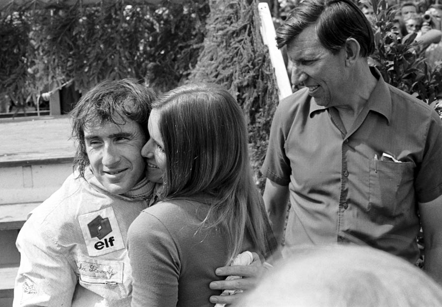 Jackie Stewart hugs his wife Helen after claiming his 3rd win in a row and 5th of the year