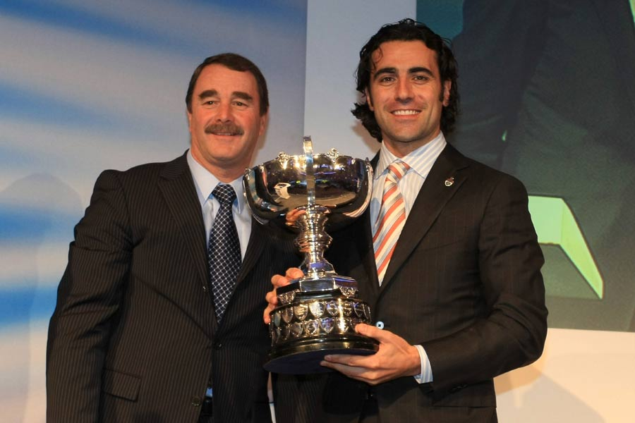Nigel Mansell with IndyCar champion Dario Franchitti at the BRDC Awards