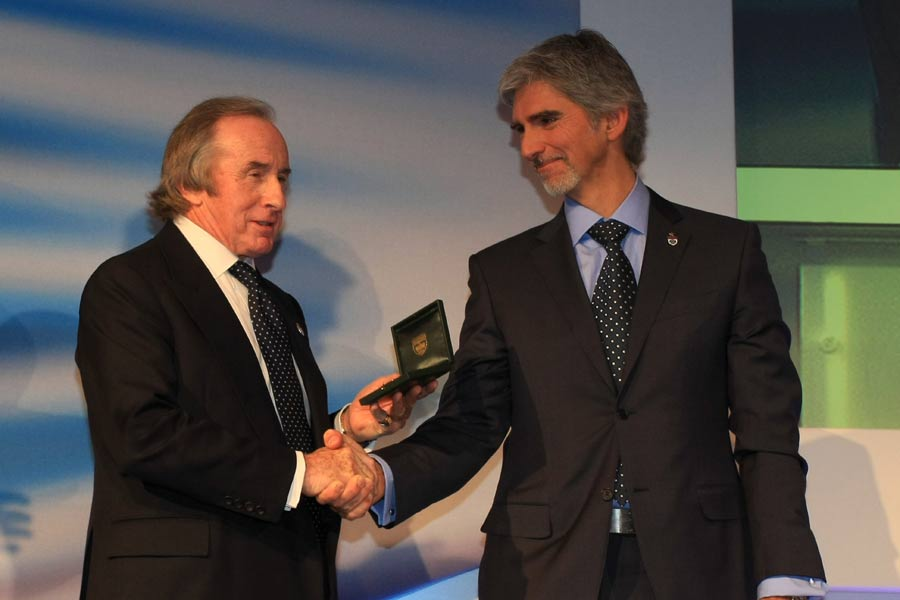 Sir Jackie Stewart with BRDC President Damon Hill at the BRDC Awards