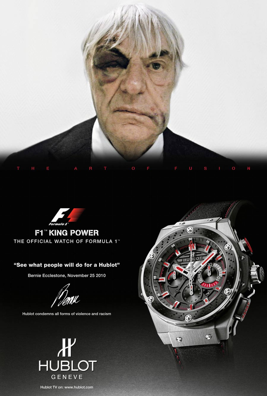 Having been mugged of his Hublot watch in London, Bernie Ecclestone agreed to appear in an advert