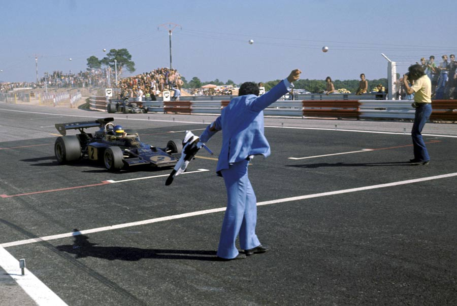 Ronnie Peterson celebrates victory