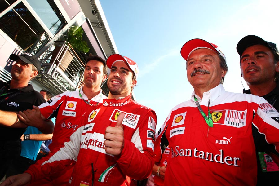 Fernando Alonso is all smiles after his victory