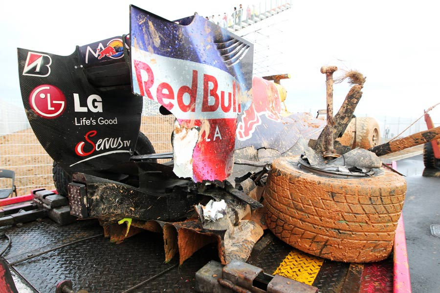 The wreckage of Mark Webber's Red Bull