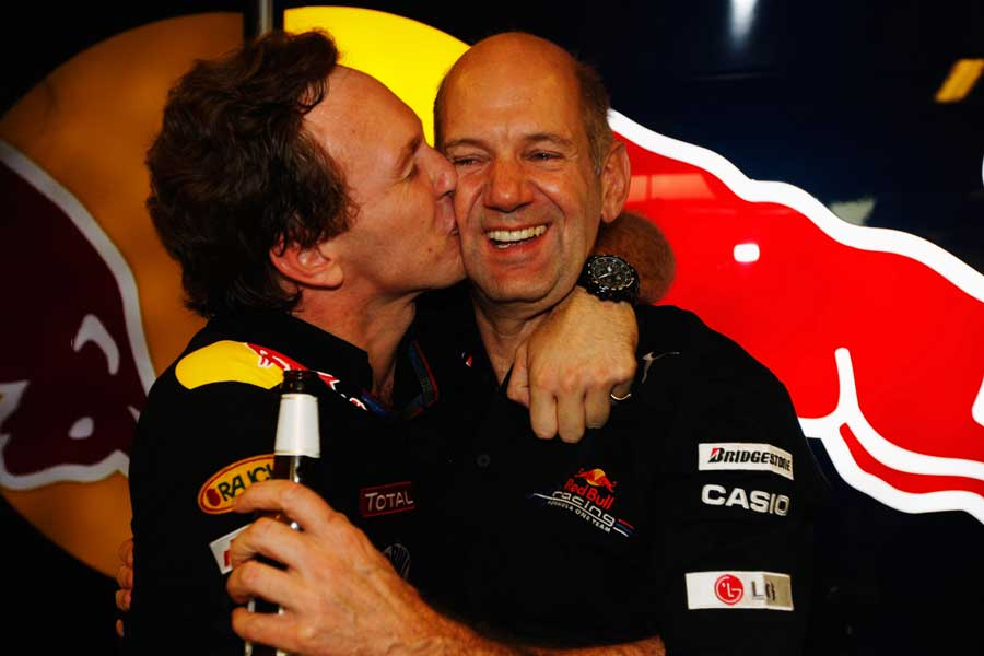 Red Bull boss Christian Horner celebrates with Adrian Newey