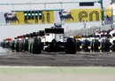 The grid lines up for the start of the Hungarian Grand Prix