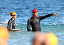 Jenson Button and girlfriend Jessica Michibata taking part in the City of Rockingham Triathlon