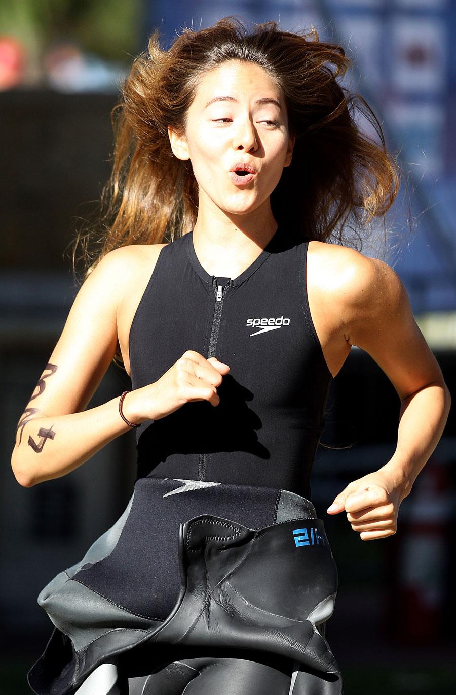 Jessica Michibata takes part in the City of Rockingham Triathlon