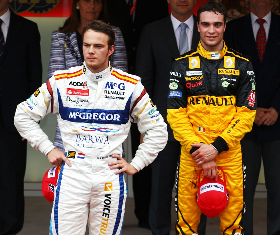 Giedo van der Garde and Jerome d'Ambrosio on the podium