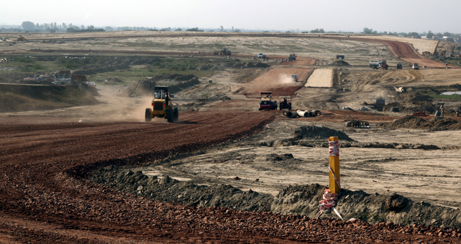 Work continues at the Jaypee International Race Circuit near Delhi ahead of the 2011 Indian Grand Prix
