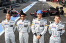 HRT drivers Sakon Yamamoto, Karun Chandhok, Bruno Senna and Christian Klien pose for a photo in the pits