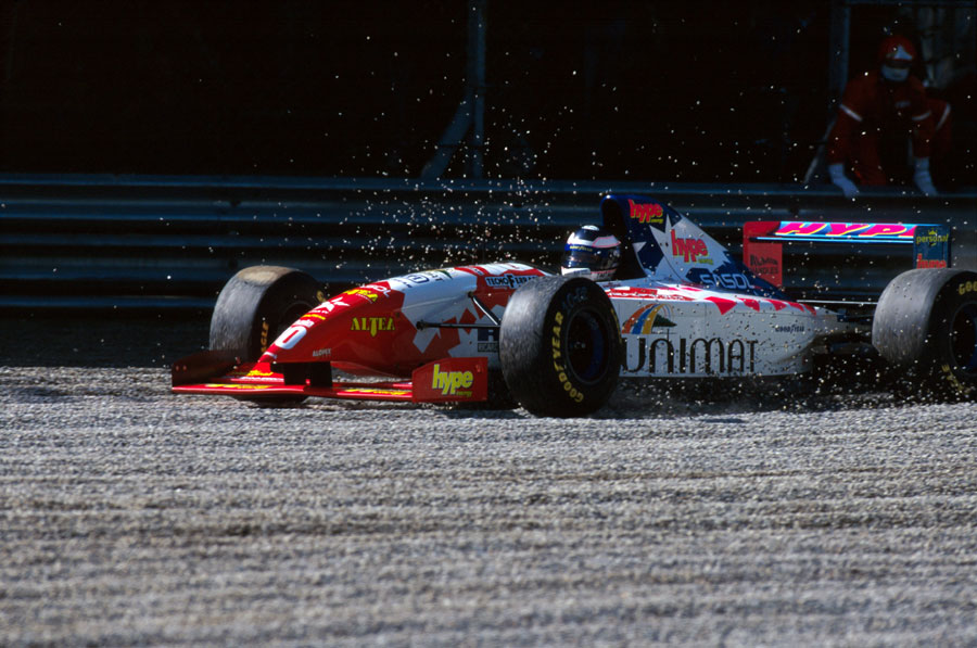Taki Inoue skips through the gravel trap on his way to eighth place