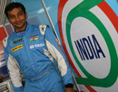 Narain Karthikeyan poses for a photo in the garage