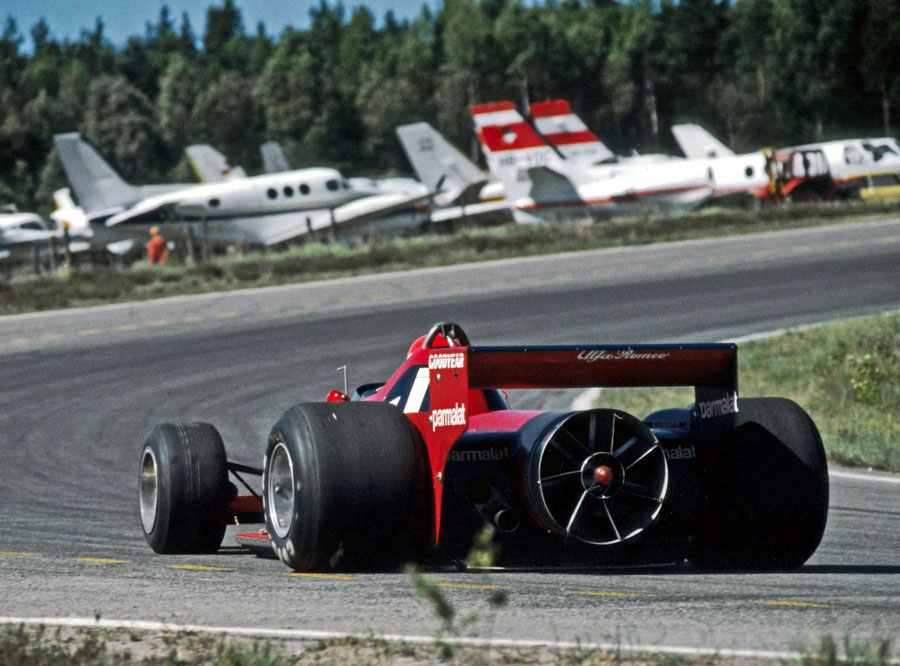 Niki Lauda gets used to the extra downforce created by the extractor fan on the back of his Brabham BT46B