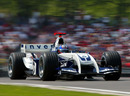 Juan Pablo Montoya at speed in the Williams FW26