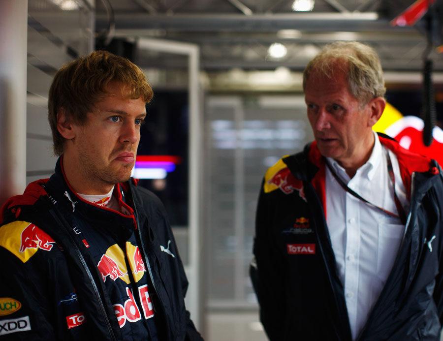 Sebastian Vettel and Helmut Marko in the Red Bull garage