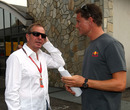 Martin Brundle and David Coulthard chat in the paddock