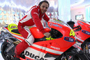 Felipe Massa on Valentino Rossi's Ducati motorbike