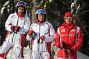 Fernando Alonso on the slopes with Ferrari test drivers Giancarlo Fisichella and Jules Bianchi