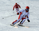 Fernando Alonso leads test driver Jules Bianchi down the slopes at Ferrari's media event Wrooom