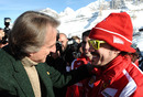 Luca di Montezemolo greets Fernando Alonso at Ferrari's media event Wrooom