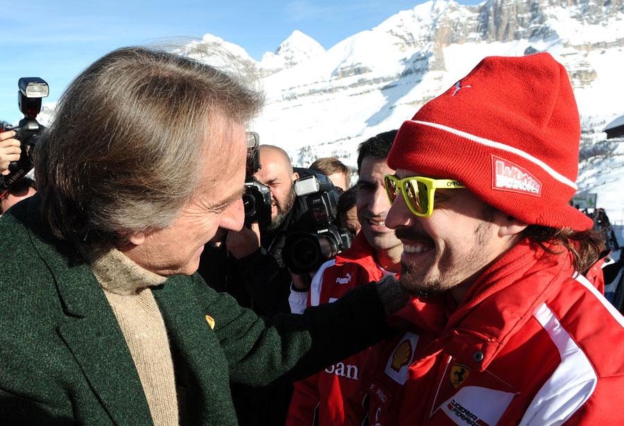 Luca di Montezemolo greets Fernando Alonso at Ferrari's media event Wrooom